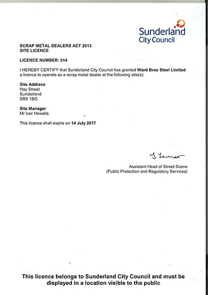 Sunderland-Scrap-Metal-Dealers-Act-2013-Site-Licence